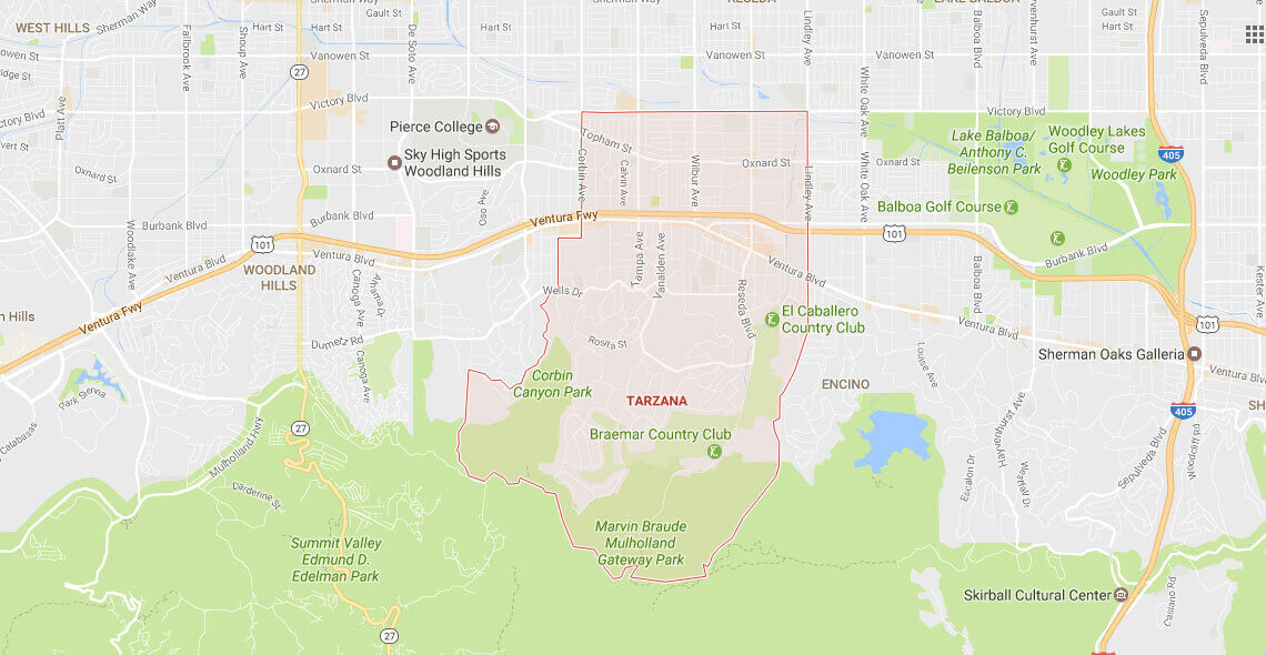 Tarzana Service Area Map