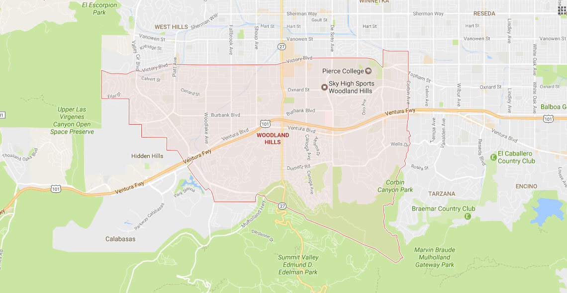 Woodland Hills Service Area Map